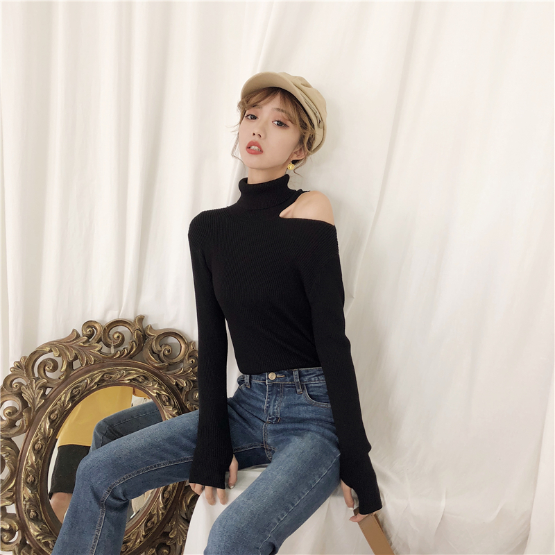 Colorfaith Women Pullovers Sweater 19 Knitting Autumn Winter Turtleneck Sexy Hollow Out Off Shoulder Casual Ladies Tops SW755 15
