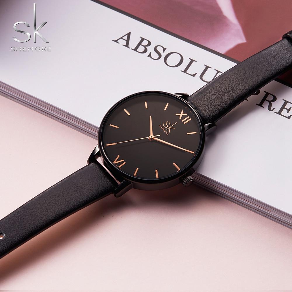 Shengke Women Watches Causal Women Leather Watch Mixmatch Ladies Watch Black Leather Strap Wristwatch 4 Colors Montre Femme SK 4