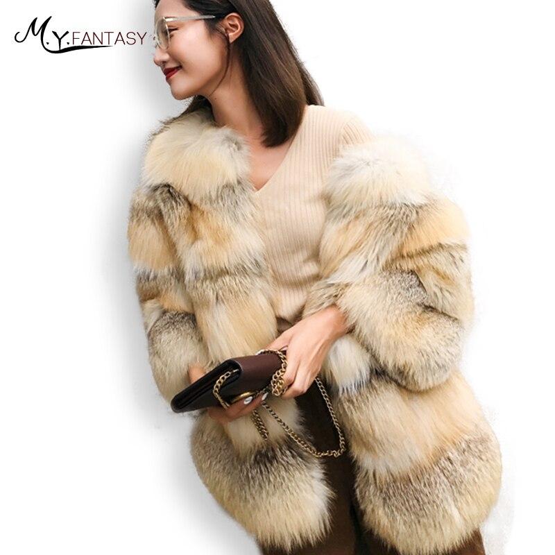 M. Y. FANSTY 2019 новое импортное Золотое пальто с лисьим мехом контрастного цвета с круглым вырезом и лисьим мехом женское тонкое пальто с лисьим мехом