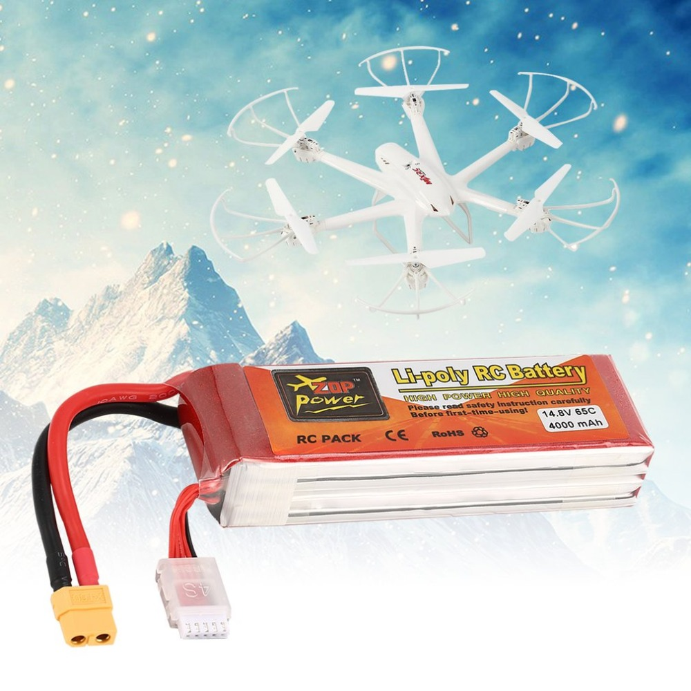 ZOP Power 14.8V 4000/<font><b>3300mAh</b></font> 65C <font><b>4S</b></font> 1P <font><b>Lipo</b></font> Battery T Plug Rechargeable forRC Racing Drone Quadcopter Helicopter Car Boat Model image