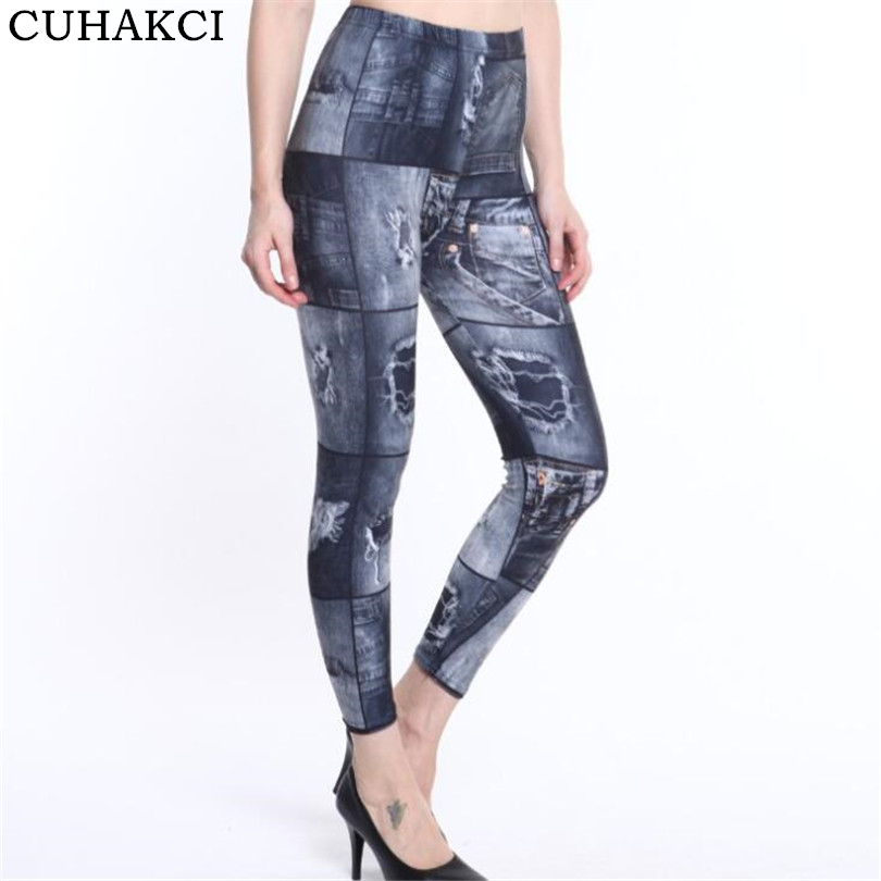 CUHAKCI Printing Legging Summer Hot Fashion Slim Women Leggins Faux Denim Jeans Leggings Sexy Fitness Leggings Pants Dropship