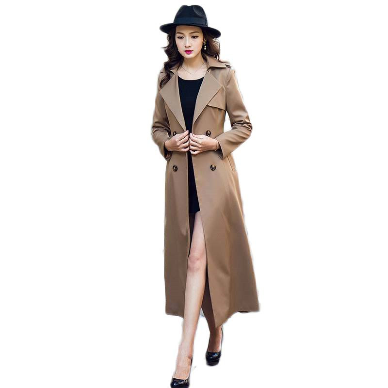 2019 Spring Autumn Female Fashion Double Breasted X-Long   Trench   Coat Women Casual Slim Belt Cloak Plus Size 5XL Windbreaker M39