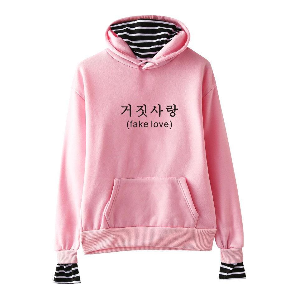 K-pop K Pop Kpop Bts Love Yourself Tear Stripe Fake Two Pieces Hoodie Women Korean Streetwear Hip Hop Fleece Harajuku Sweatshirt Women's Clothing