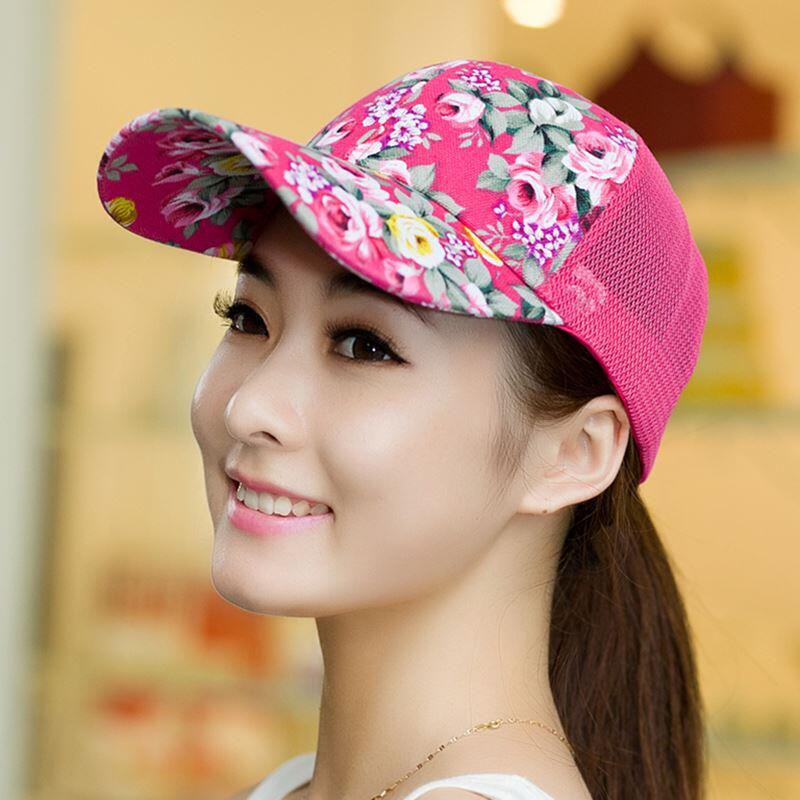 BINGYUANHAOXUAN 2017 New Casual Women Floral rose Acrylic Adjustable Baseball Cap Summer Fitted Snapback Girls Fitted Hats in Men 39 s Baseball Caps from Apparel Accessories