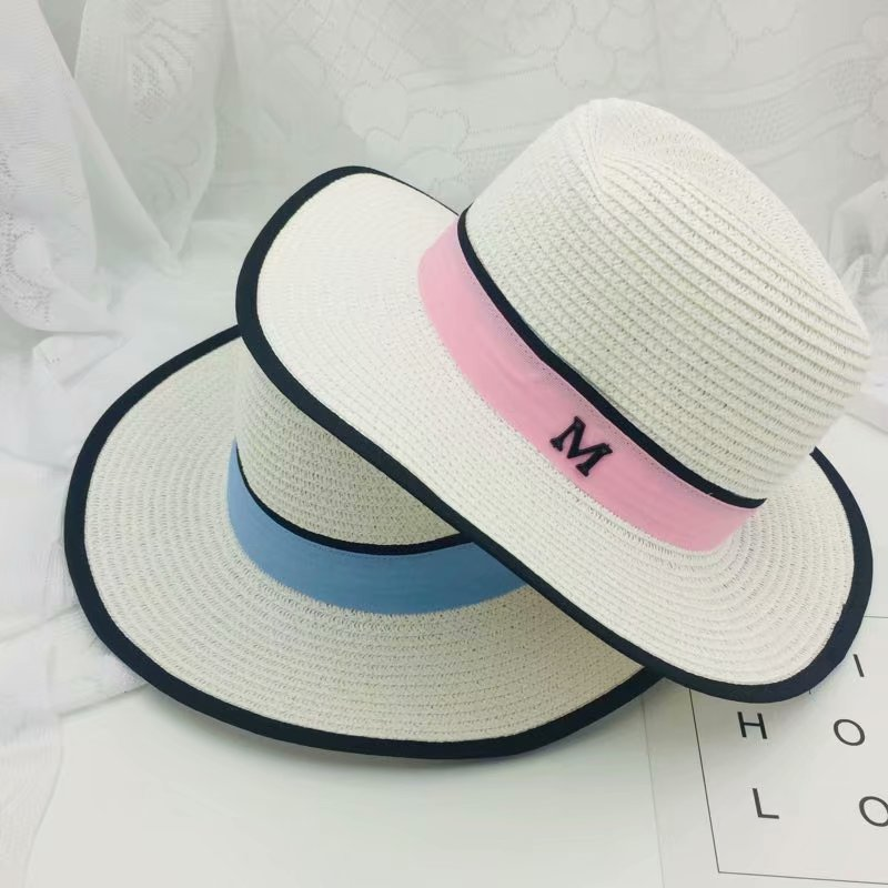 New arrival Summer Fashion M letter straw hat for women Large brim panama fedora womens travel beach sun hats