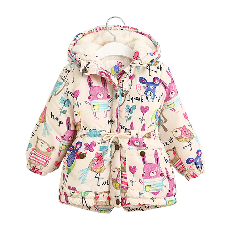 2017 New Autumn winter children down & parkas European style print  hooded girls outerwear coats 2-6Y warm little child jackets 2017 new winter sytle children clothing fashion cartoon print girls down & parkas 1 6y hooded children jackets coats for girls