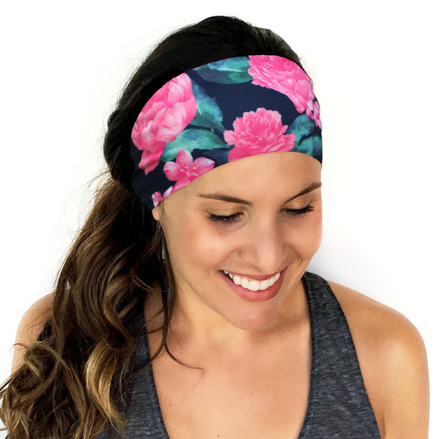 Women Wide Yoga Headband Stretch Hairband Elastic Hair Band Head Wrap  Turban Hot Flower Print Sport Headband 69eeafc9219
