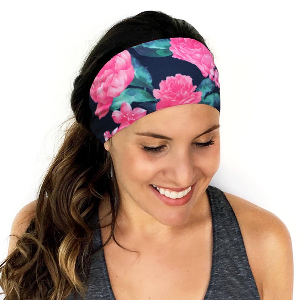 Women Wide Yoga Headband Stretch Hairband Elastic Hair Band Head Wrap Turban Hot Flower Print Sport Headband