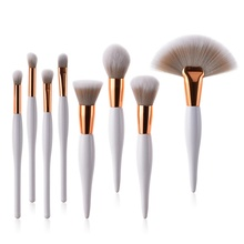 2019 4/8pcs makeup brush kit soft synthetic head wood handle brushes fan flat brush set for women eyeshadow facial make up new arrival black handle full brush made of synthetic fibres shaped 141 synthetic face fan makeup brushes