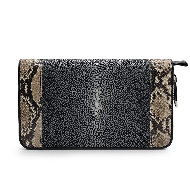 Exotic Genuine Pearl Fish Skin Python Leather Inside Zipper Pocket Ladies Card Holder Wristlets Bag Large Wallet Clutches PurseExotic Genuine Pearl Fish Skin Python Leather Inside Zipper Pocket Ladies Card Holder Wristlets Bag Large Wallet Clutches Purse