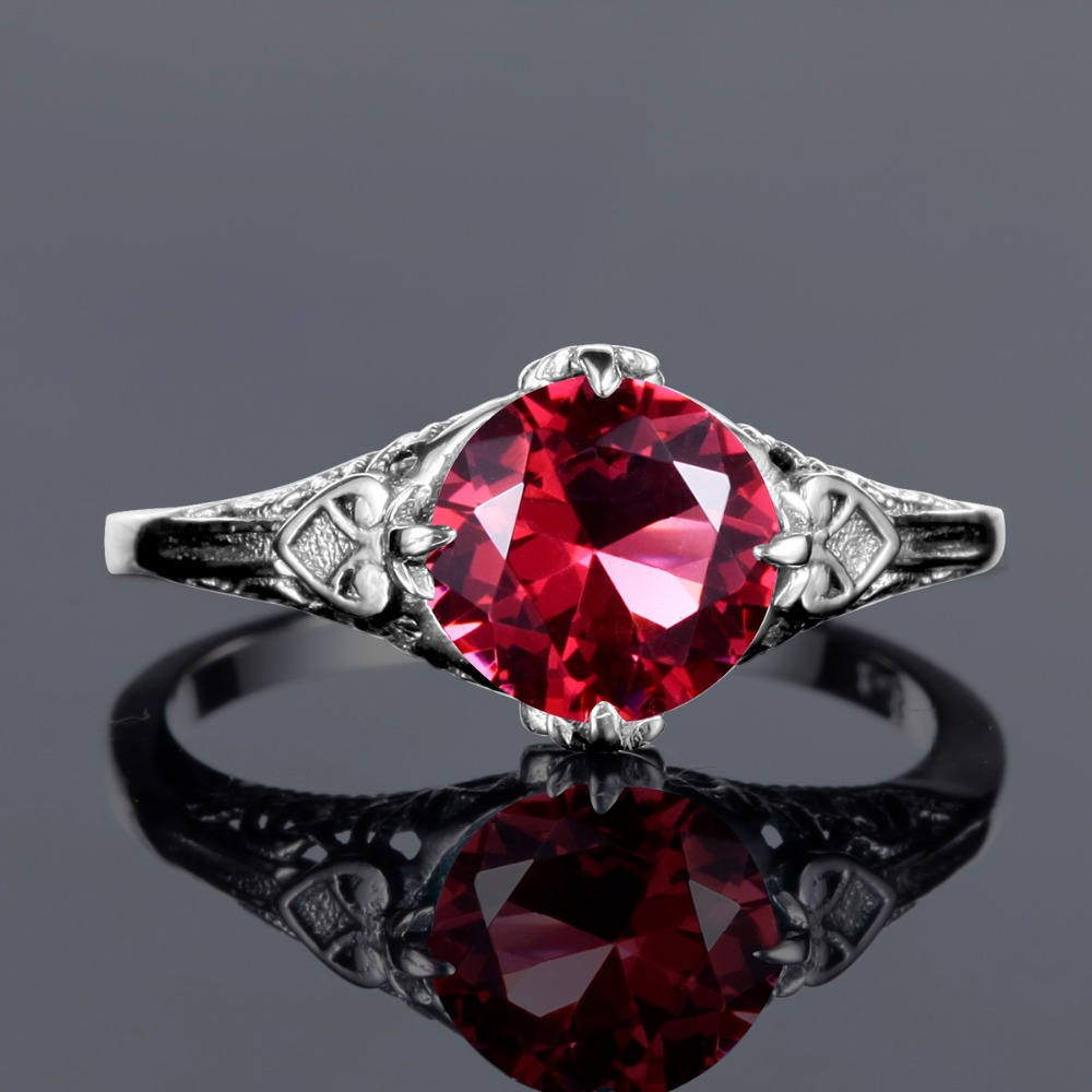 Ancient Roman Rings us $18.55 31% off|ancient roman rings antique round engrave created ruby  stone ring pure 925 sterling silver vintage jewelry wedding accessories-in