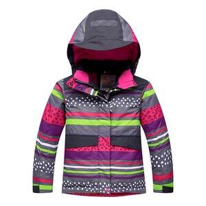 Image 2 - 2020 Winter Kinder Mädchen Schneeanzug Ski Sets Warme Mit Kapuze Mädchen Ski Anzug Ski Jacke Hosen Outdoor Kinder Wasserdichte Snowboard Anzüge