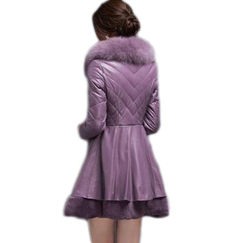 Fausse Faux Col black De purple Mouton Femme Le Élégant Peau Pour Luxe En Hiver White Manteaux 2017 Vers D'hiver Femmes Manteau Bas Fourrure Chaud 6BUwp6rq