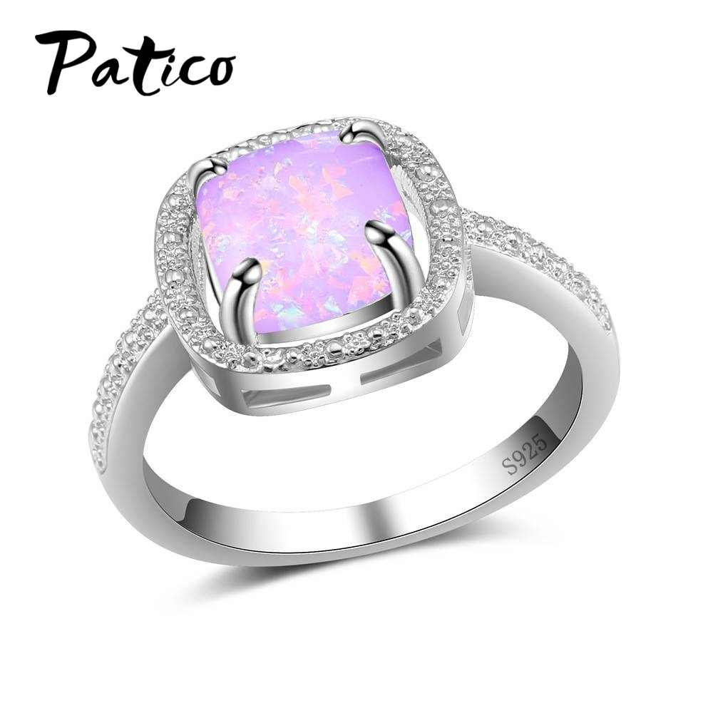 Drop Shipping Women Square Opal Stones Knuckle Rings Jewelry Gift Joyas 925 Sterling Silver Optional Colors Fashion Wedding Ring