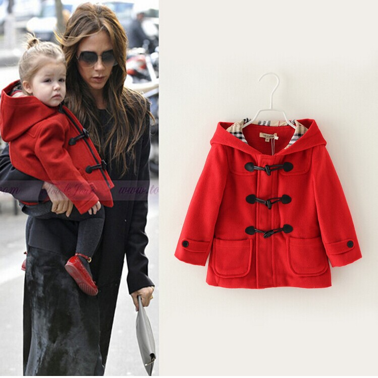 New Brand 2014 Girls Horn Button Hooded Jacket Coat , High Quality ...