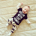 2017 infant toddler soft comfortable casual clothing sets fashion long sleeve letter print t-shirt and cartoon animal pants