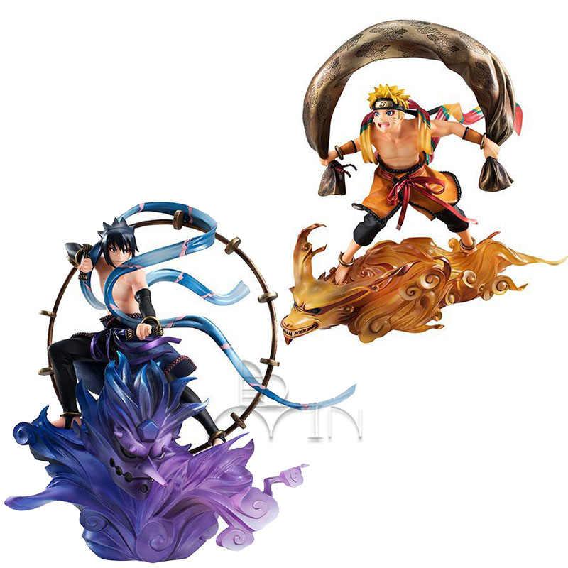 Japão Anime Figura de Ação NARUTO Uzumaki Naruto Uchiha Sasuke Vento Ver Modelo 18 cm PVC Lutando Boneca de Presente 2019 Nova estatueta