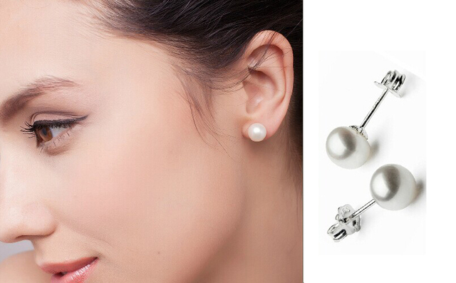 Stud Earrings Unique Natural White Round Flat 8mm Baroque Pearl S925 11817