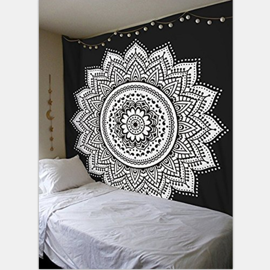 Indian Mandala Black White Mandala Lotus Tapestry Wall