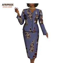 2017 autumn women office suit african print AFRIPRIDE full sleeve single breasted top+knee-length pencil skirt office  A722657