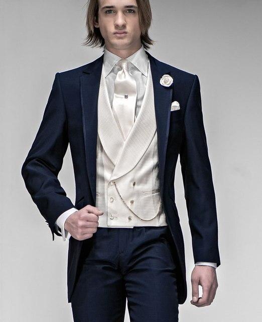 Slim Fit Mens Ternos Padrinhos Notch Lapela Do Noivo Smoking Marinha Tiras Azuis Do Casamento Melhor Homem Terno (Jacket + Pants + gravata + Colete) A73