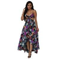 HOT SALE Woman Deep Bodice Cut Out High Low Dress Maxi Long Dress New Beach Poplin
