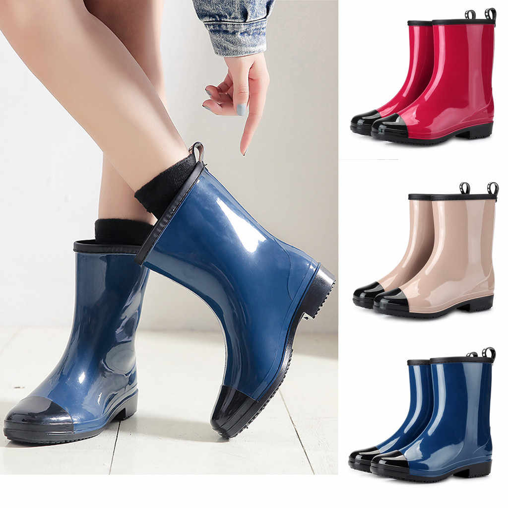 Las mujeres de moda de lluvia de PVC tobillo impermeable