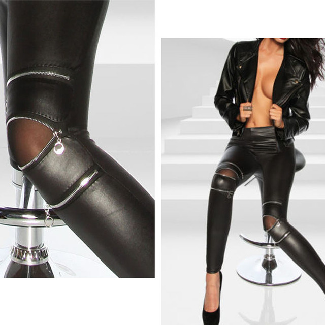 cbebc8ce68f Fashion Sexy New Cool Women Classical Slim Skinny Fit Sexy Zip Faux Black Leather  Leggings Pants New