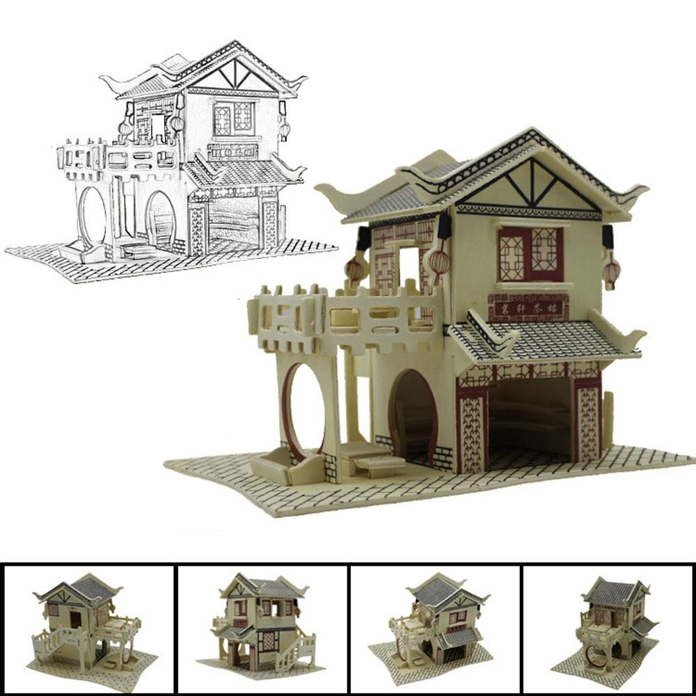 3D Wooden Puzzle Jigsaw Puzzles Toys Montessori Education Toys Puzzel Adult House DIY Model Building Intelligence Training JA29b