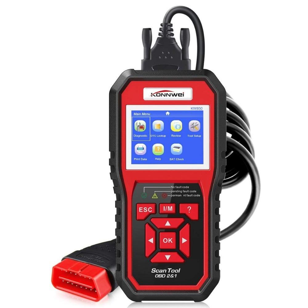 Escáner profesional OBD2 KW850 lector de código Motor de vehículo diagnóstico EOBD herramienta de escaneo para todos los coches de protocolo OBDII y CAN desde 1996 - 2