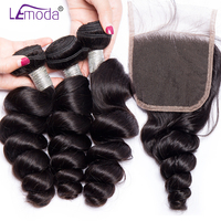 Lemoda hair loose wave 3 bundles with closure free part lace Peruvian hair bundles with closure remy human hair extensions