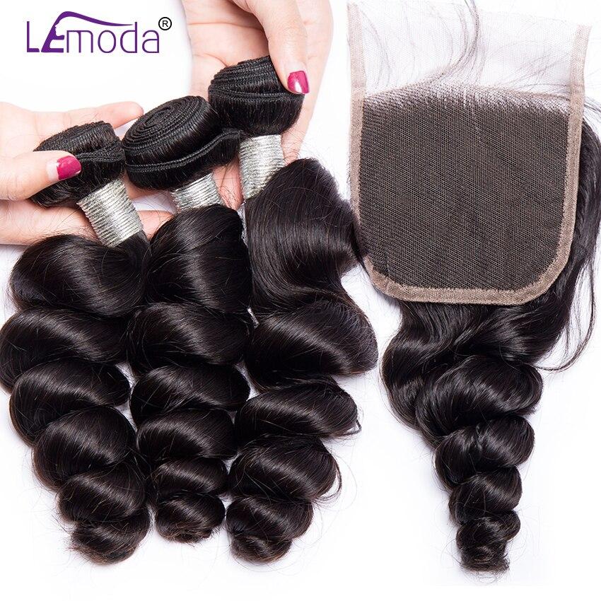 Lemoda hair loose wave 3 bundles with closure free part lace Peruvian hair bundles with closure remy human hair extensions