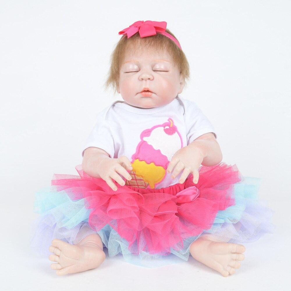 55cm Closed Eyes Soft Full Silicone Reborn Doll Cute Newborn Baby Girl Doll Toy for Kids Birthday Xmas Gift Bebe 55cm full silicone newborn princess girl doll lifelike reborn baby doll toy for kids birthday xmas gift bebe