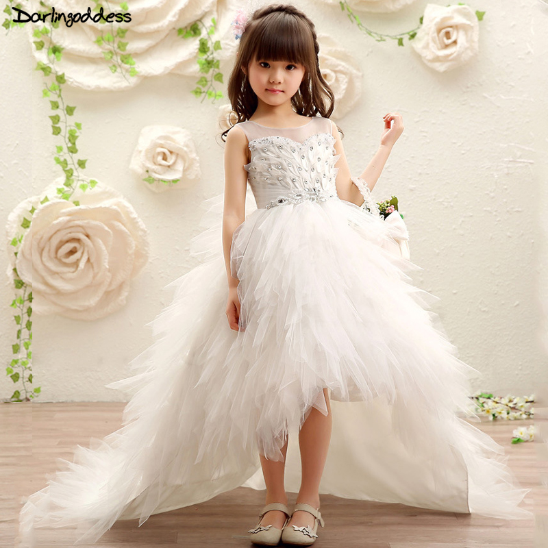 Long Train White Flower Girl Dresses for Party and Weddings Ball Gown pageant Dress Girls Kids First Communion 2018