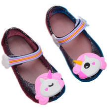 hot 2018 Summer New Dargon Sandals Mini Melissa Unicorn Shoes New Winter Jelly Shoe Fish Mouth Girl Non-slip Kids Sandal Toddler