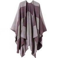 European stylish Tartan acrylic patchwork women winter autumn poncho plaid scarf wraps LL171262
