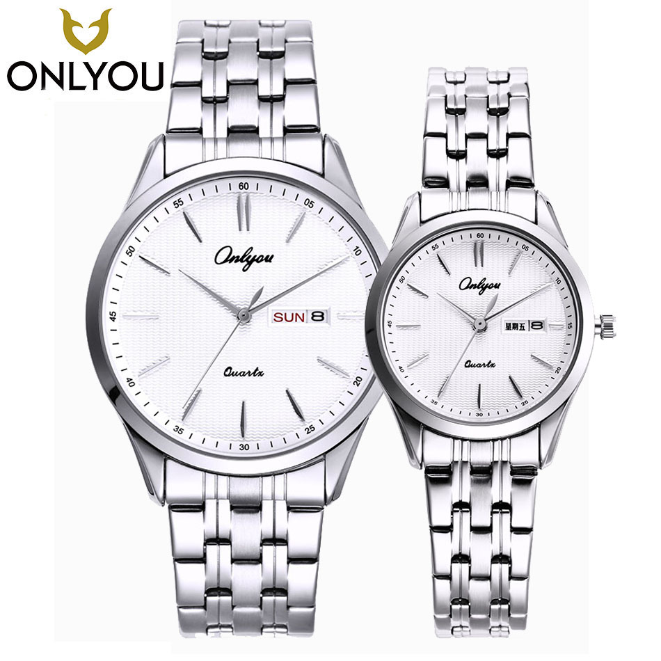 ONLYOU Lovers' Stainless Steel Watches Couple Luxury Fashion Business Men Quartz Waterproof Watch Women With Calendar Watches muhsein hot sellingnew lovers quartz watches stainless steel watch business women dress watches for couples free shipping