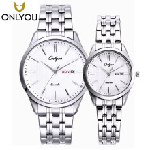 ONLYOU Lovers' Stainless Steel Watches Couple Luxury Fashion Business Men Quartz Waterproof Watch Women With Calendar Watches