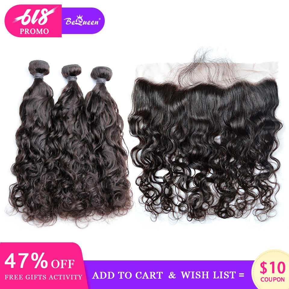 BeQueen Brazilian Hair Weave 3 Bundles With Frontal Water Wave Human Hair Bundles With Frontal Raw Virgin Human Hair Extension