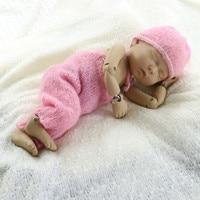 MODEL DJ 13120 Hand Knit Newborn Mohair Bonnet With Pants Full Set Baby Shower Props For