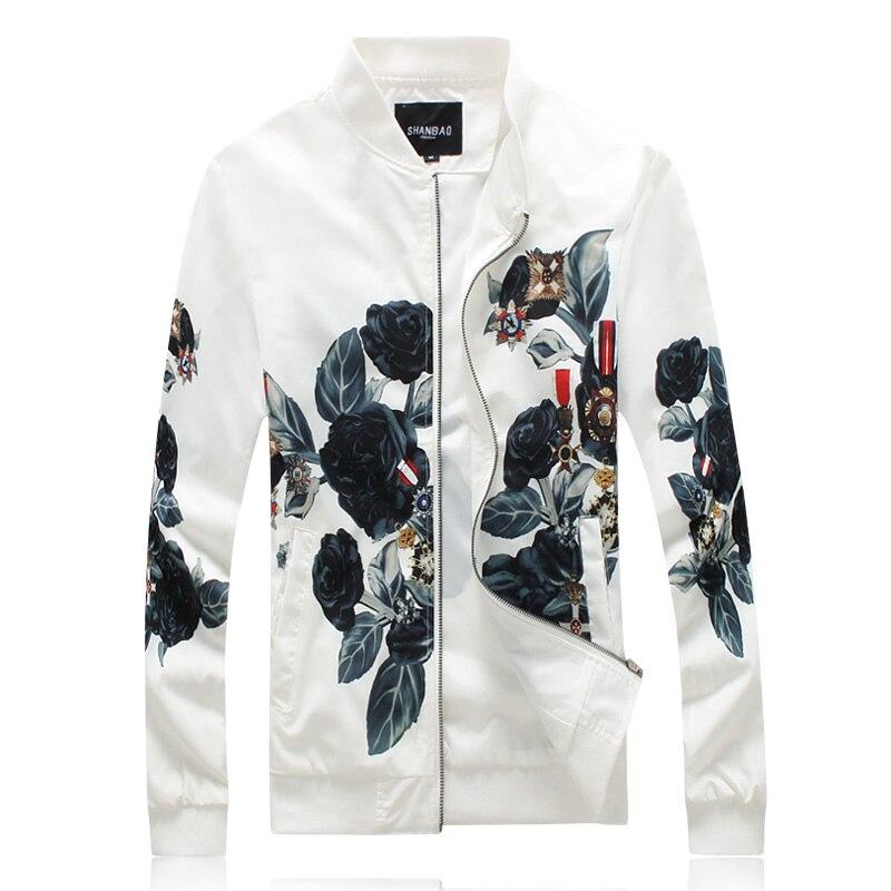 J18059 exquis fleur badge motif impression 3d mode veste hommes automne 2018 qualité lavage et porter des vestes et manteaux pour hommes M-5XL