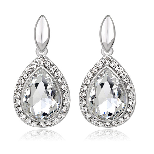 Crystal Bridal Earrings For Women Fashion Wedding Jewelry Silver Color Full  Rhinestone Big Water Drop Dangle 82b36265596d