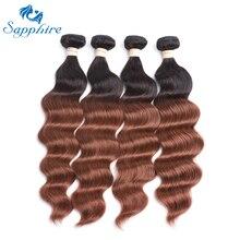 Сапфир Ombre бразильского Виргинские пучки волос плетение T1B/33 волны океана Человеческие волосы Связки салон Наращивание волос Бесплатная доставка