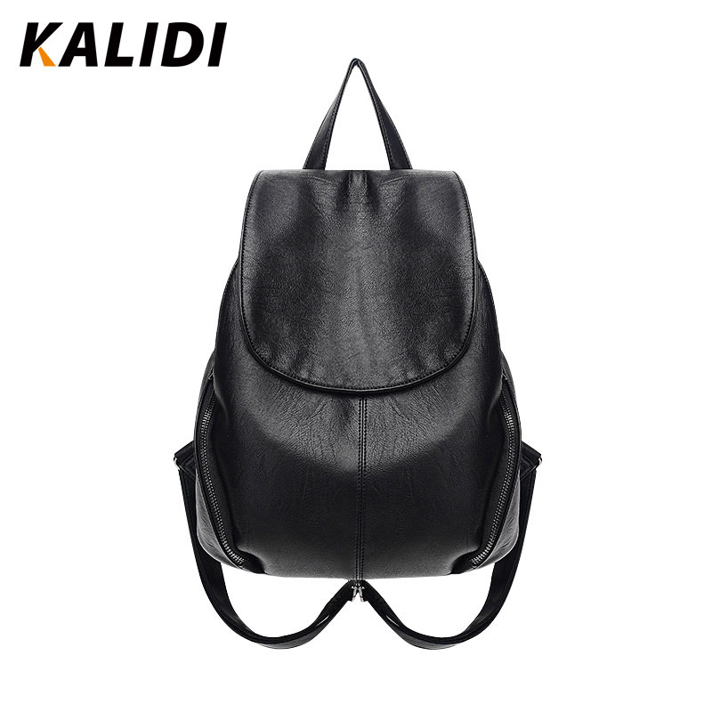 KALIDI Fashion Backpacks Women Black Small Casual Backpacks Shoulder School Bags PU Leather Backpacks Mini Backpack For Gril