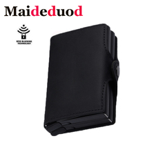 Maideduod 2018  RFID Crazy Horse Leather Mini Wallet Security Information Double Box Aluminum Credit Card Holder Metal Purse