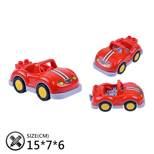 Car Set Big Building Blocks jeep Pickup Bus aircraft accessory DIY kid Gift Toys for children Compatible Duplo Vehicle Bricks