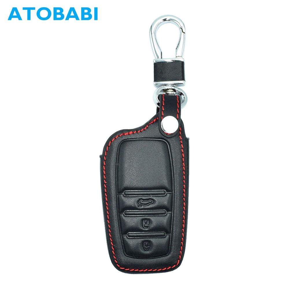 ATOBABI 3 Buttons Leather Car Key Keychain Cover Cases For Toyota Corolla Prado Highlander Crown Camry Reiz Keys with Key Ring