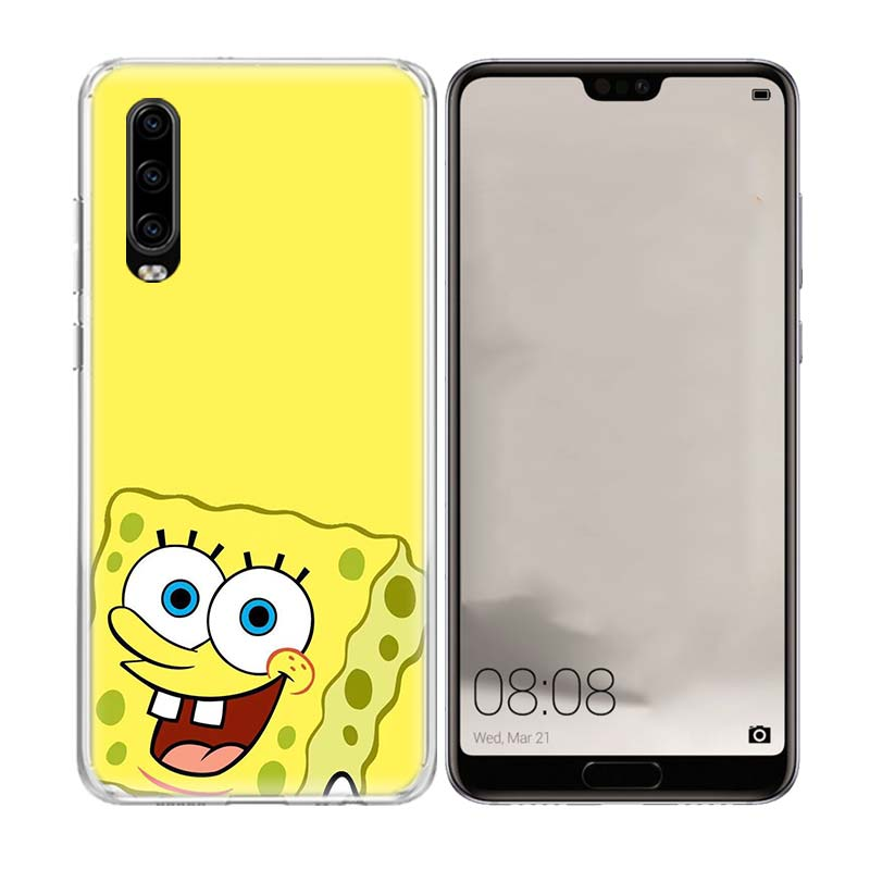 SquarePants Cartoon Phone Case for Huawei P30 P20 Mate 20 10 Pro P10 Lite P Smart Plus 2019 Customized Cover Cases Capa Coque in Half wrapped Cases from Cellphones Telecommunications
