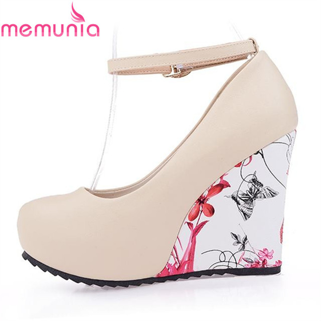 MEMUNIA 2018 new fashion wedges pumps buckle strap round toe platform women  party wedding shoes woman 4a5d13686ead