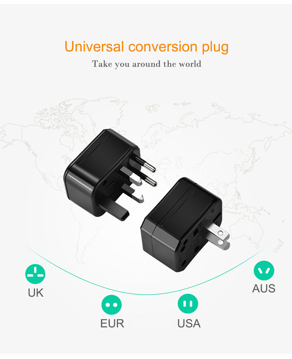 Three-in-one Global Travel Conversion 3 Sockets Plugs Universal Adapter Travel Abroad Converter Household Plugs USAUEUUK (2)